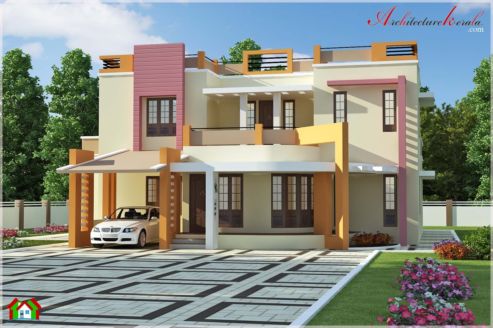 Simple House Elevations : Square feet simple contemporary style house elevation