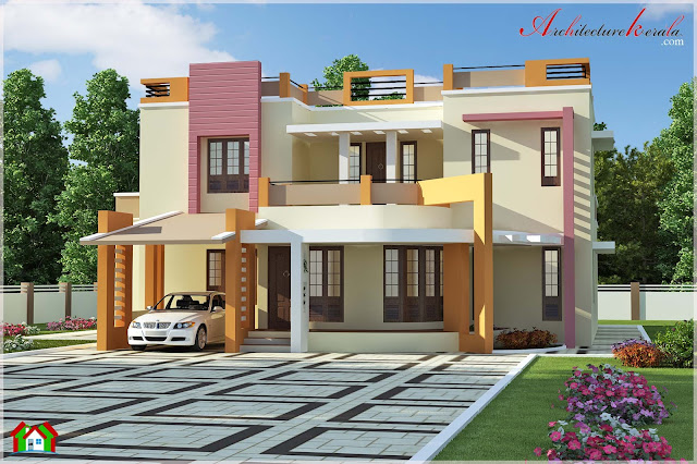 2500 square feet simple contemporary style house elevation for Modern house plans 2500 square feet