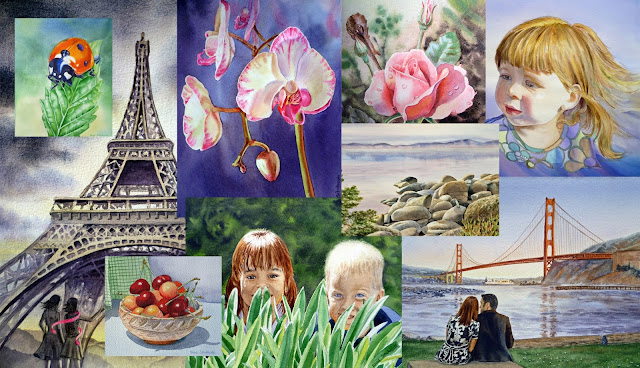 watercolors flowers eiffel tower portraits