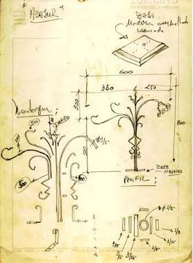 Desenhos dos detalhes dos componentes do Abajur