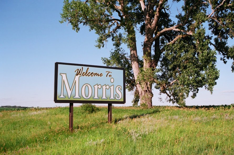 A welcome sign as you approach the bypass east of Morris MN - welcome!