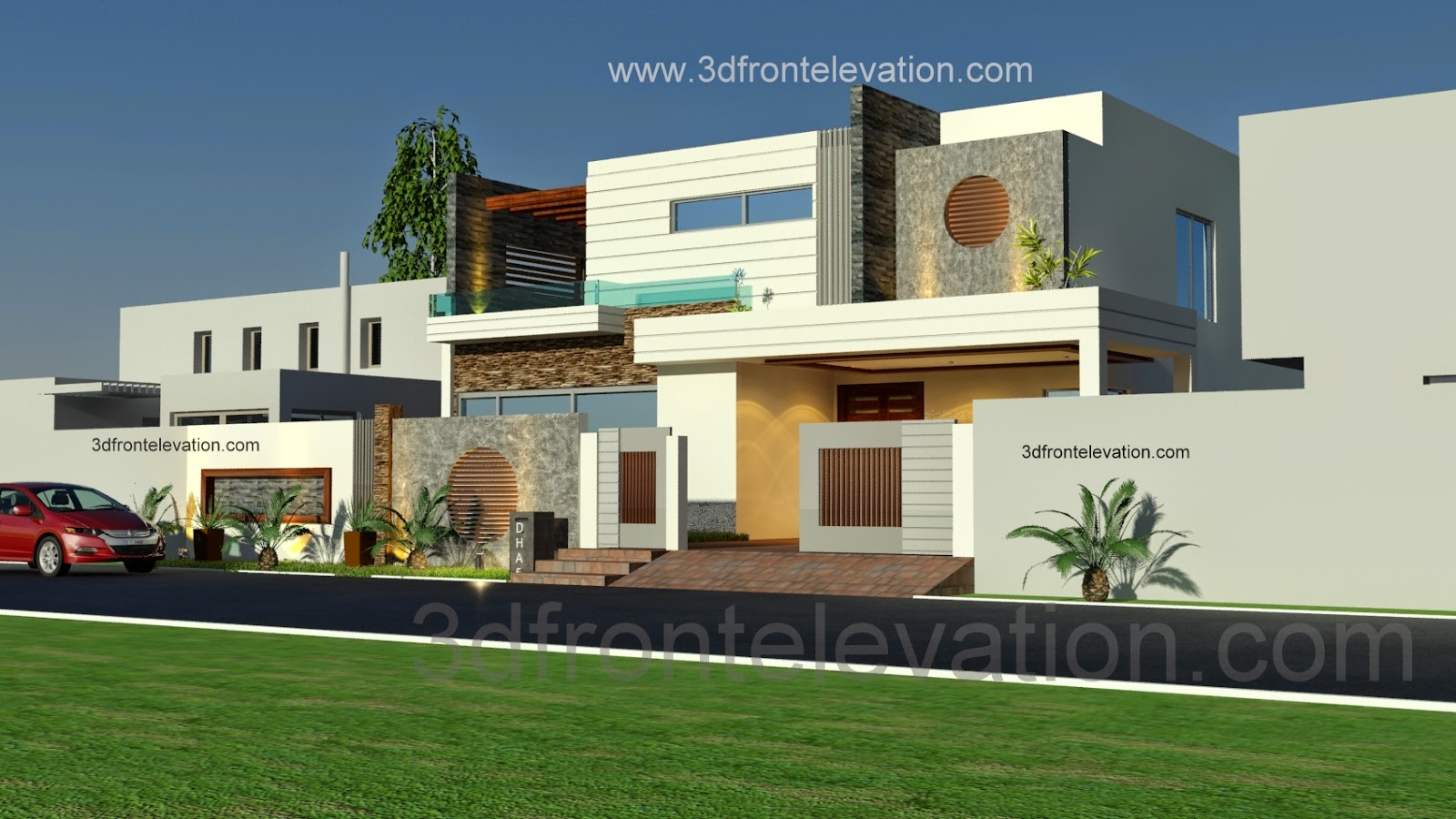 ... Plan and 3D Front Elevation DHA Lahore,Pakistan - Architectural Design