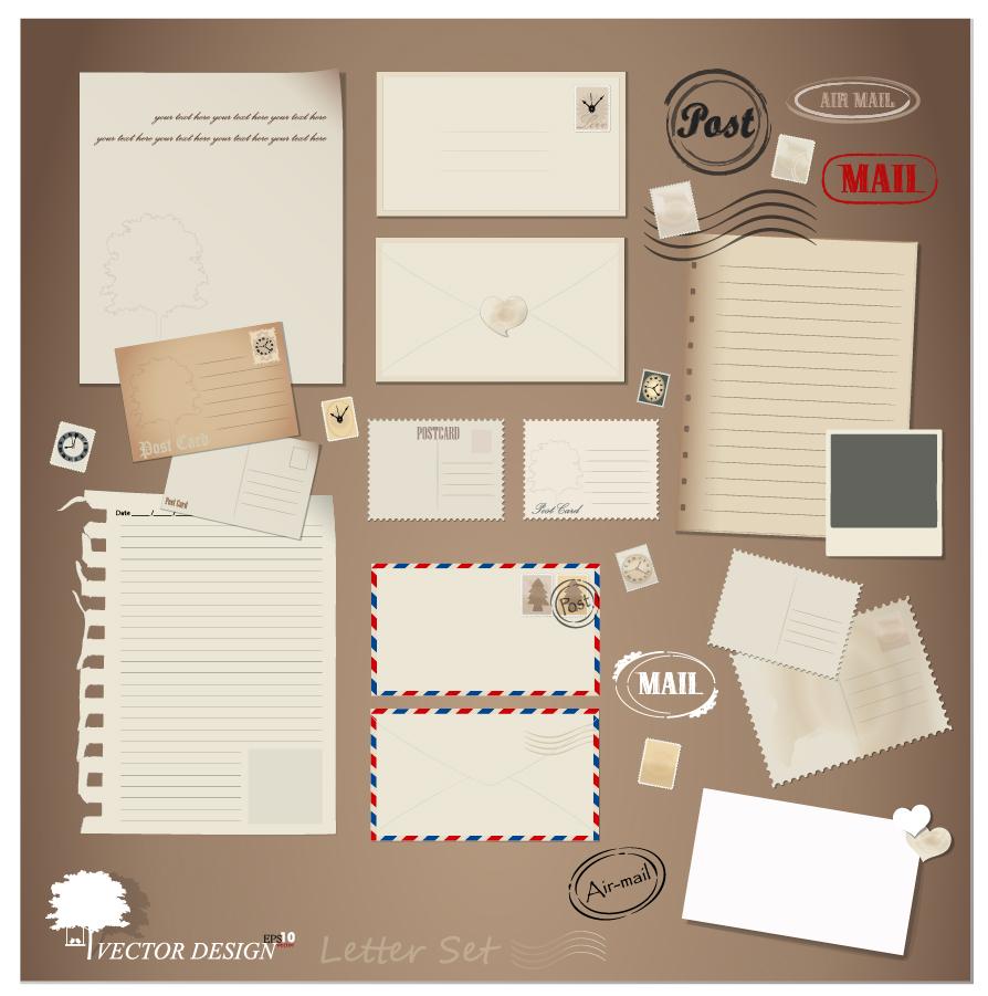 古風な郵便葉書きと封筒 Retro postcards stationery envelope イラスト素材
