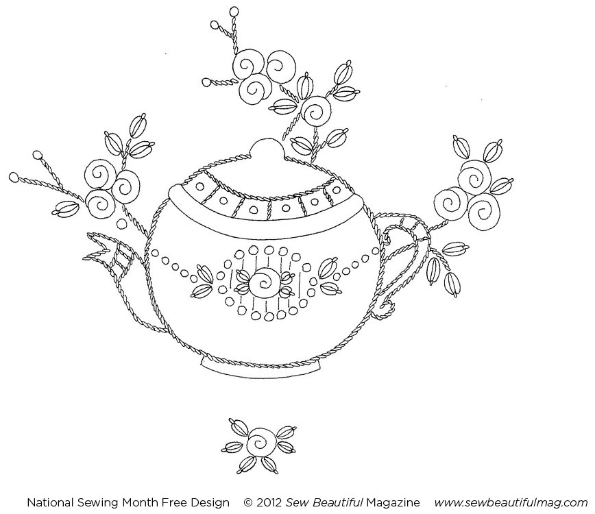 Sew beautiful free daily design vintage teapot