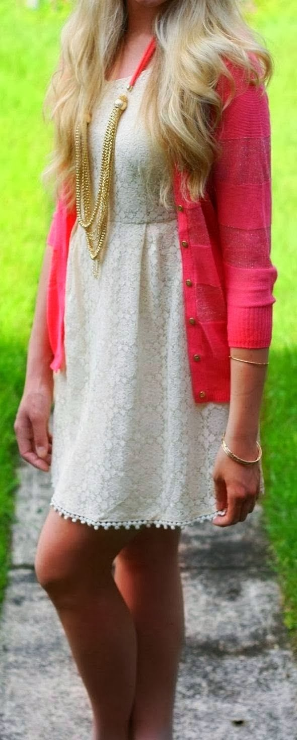Cute White Lace Mini Dress With Attractive Pink Cardigan.