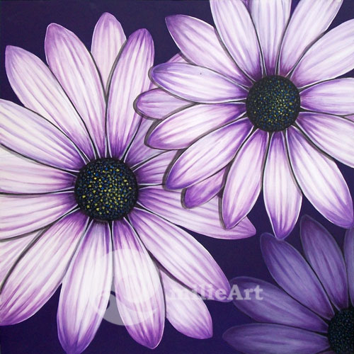 lukisan bunga krisan ungu
