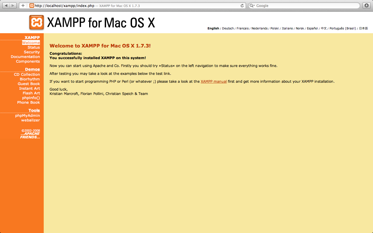 XAMPP for Mac screenshot