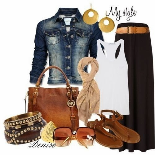 Denim jacket, white vest, black skirt, scarf, handbag and sandals