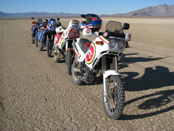 Two Rallye Cagiva Elefants and 2 KTM 950s ready to air out on Laguna Diablo.  Baja