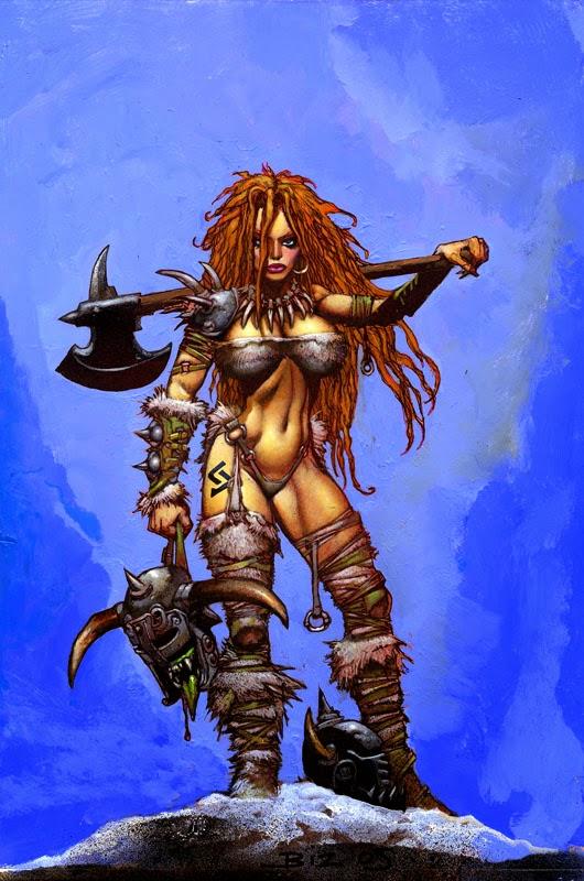 Dessin de Simon Bisley représentant une femme guerrière sexy et rousse tenant une tete d'orc