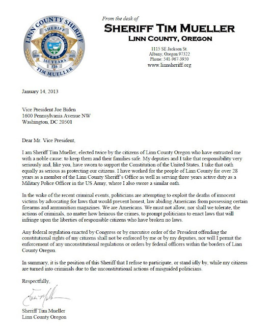 Sheriff Tim Mueller Linn County Oregon letter to President Obama refusing to infringe on 2nd Amendment rights guns, ar-15 assault rifles, automatic weapons