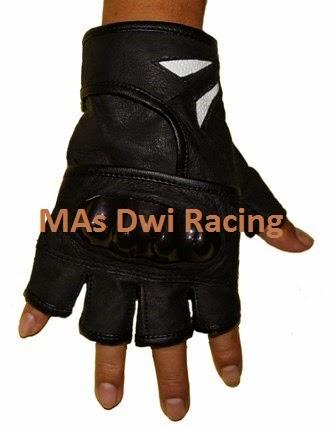 Sarung Tangan Toring Kulit Domba Garut Warna Putih Hitam Pendek | Mas Dwi Racing
