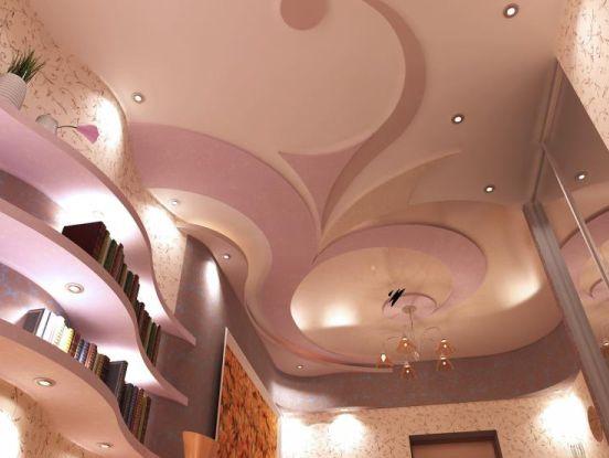 потолков, стен, перегородок, ниш и других декоративных конструкций из гипсокартона.  Идеи интерьеров.