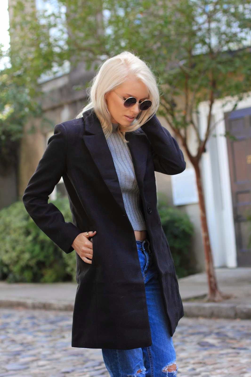 charleston sc street style fashion blogger dannon k collard like the yogurt cropped sleeveless sweater grey gray long black blazer peacoat oversized boyfriend jeans denim peep toe mules nonstop steve madden shoes heels cobblestone road downtown black button london nails union round sunglasses ashley olsen style platinum blonde long bob