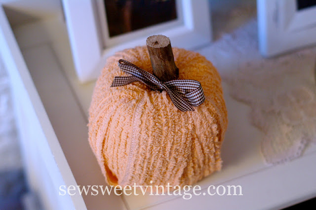diy fall decor chenille pumpkin   Sew Sweet Vintage