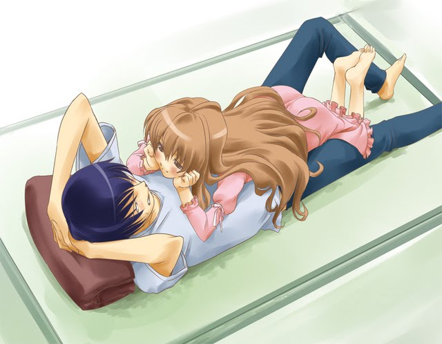 Anime couple sleeping together in a very romantic style