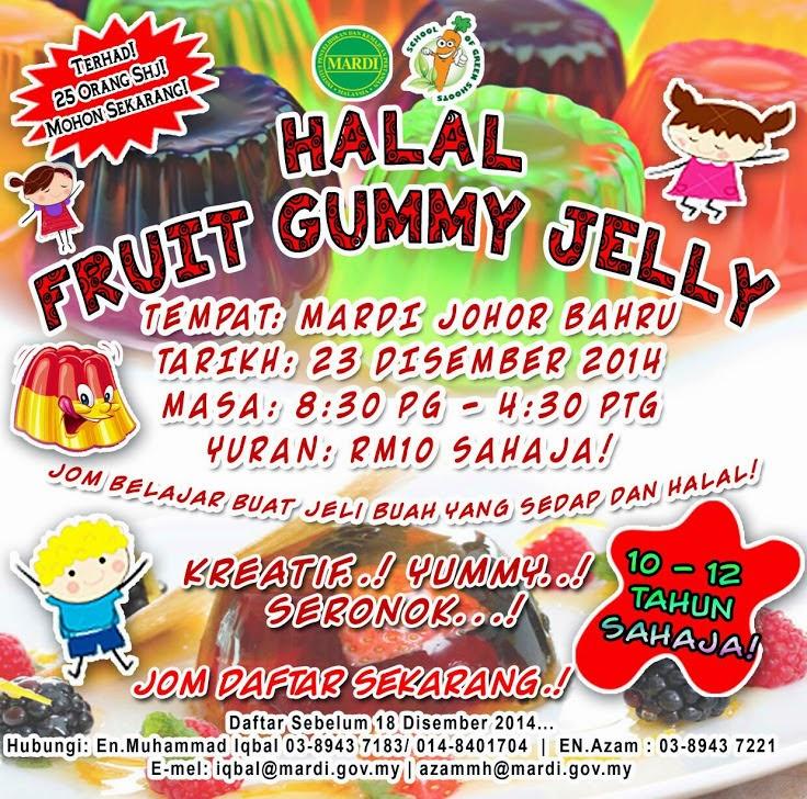 "Bengkel ""Halal Fruit Gummy Jelly"" dan ""The Making of Sate"" di MARDI Johor Bahru! Yuran RM10 SAHAJA!"