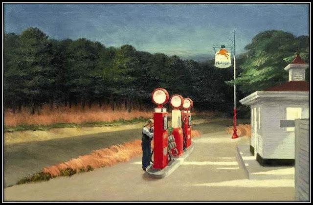 peinture Gas Edward Hopper, expo Grand Palais illustration amérique