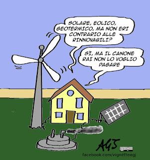 rinnovabili, energia, canone rai, solare, geotermia, eolico, satira vignetta