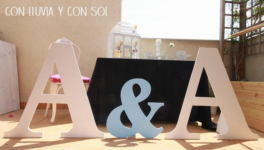 Con lluvia y con sol letras gigantes para la boda de ana - Casa letras madera ...