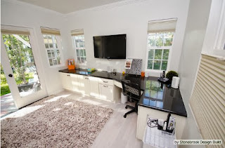 Combine your home office with space for watching TV