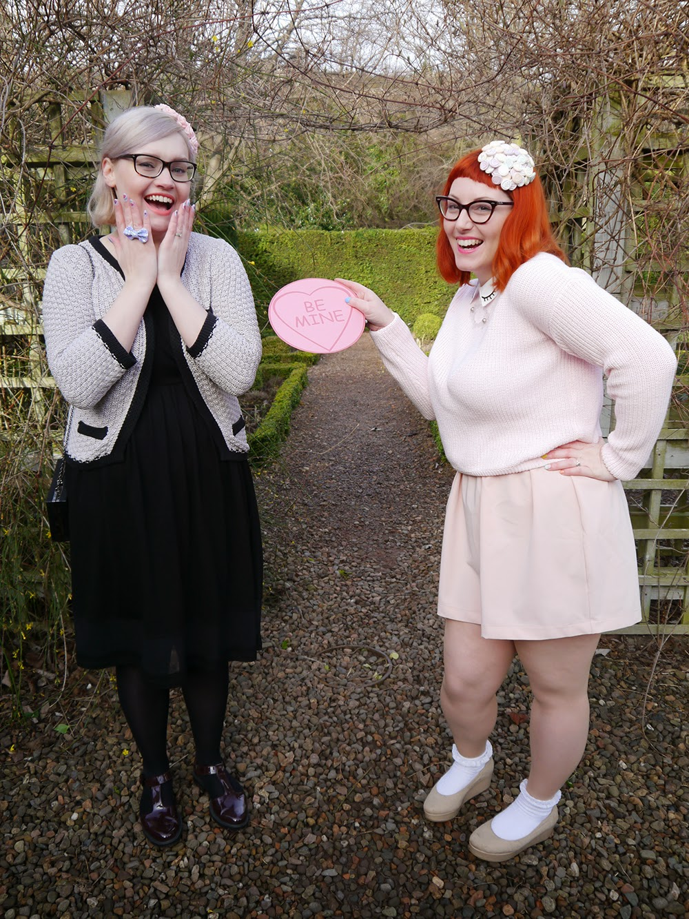 Valentine, Valentine's Day, Love Heart sweets, Sweet Inspired Outfit. Valentine's Day style, Valentine outfit, All pink outfit inspiration, She Inside winking jumper, Wear Eponymous pink skirt, H&M nude flatform shoes, Topshop frilly socks, Charcot necklace, giant lovehearts, Lovehearts headpiece, sweet hat, sweetie fascinator, Scottish Bloggers, Wardrobe Conversations, Galentines, BFF, Best Friends