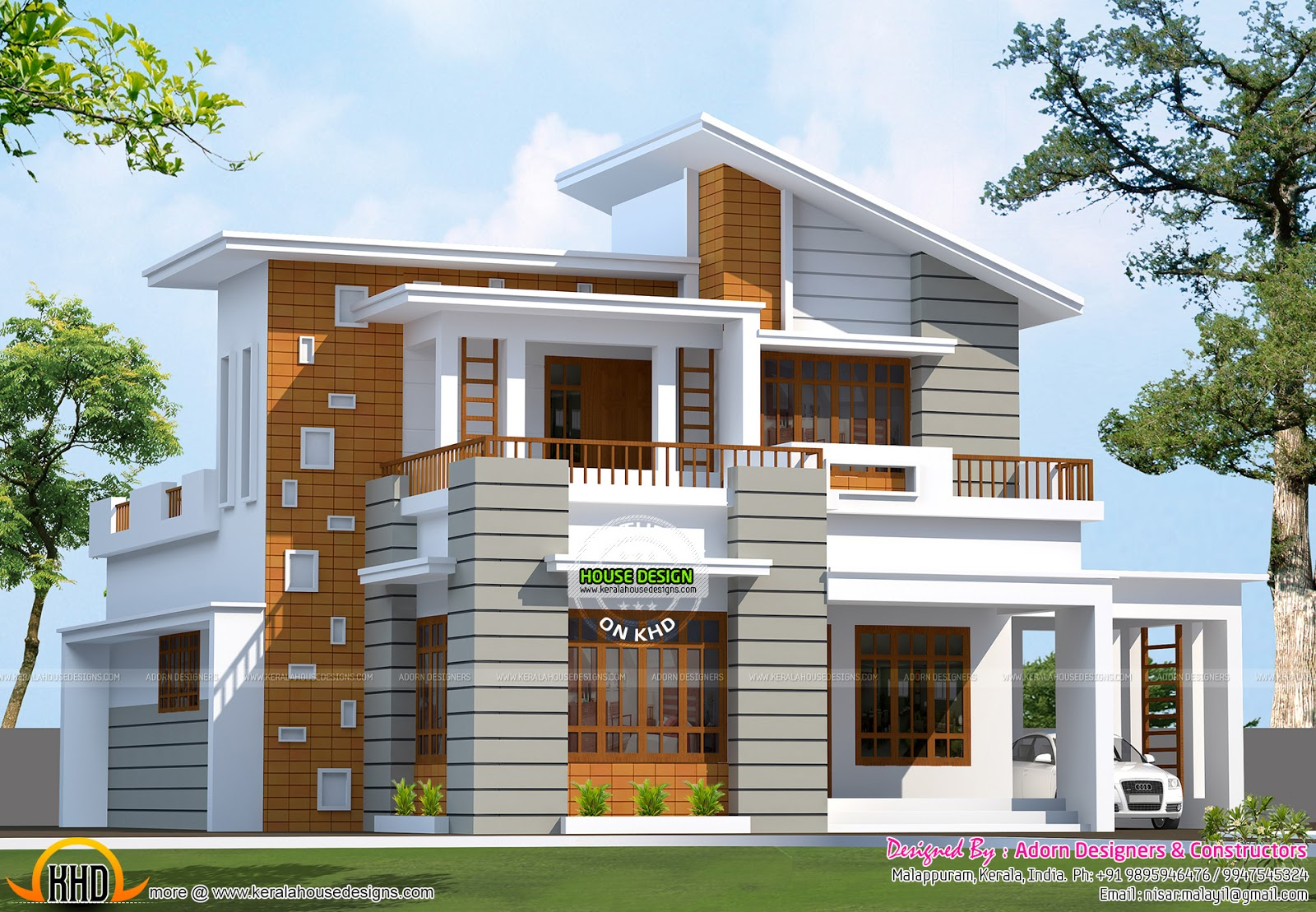 Indian house outlook design for Modern house plans for 1600 sq ft