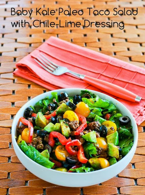 ... Kale Paleo Taco Salad with Chile-Lime Dressing from Kalyn's Kitchen