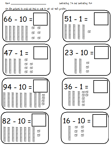 math worksheet : first grade shenanigans adding 10 and 1; subtracting 10 and 1 : Base Ten Addition Worksheets