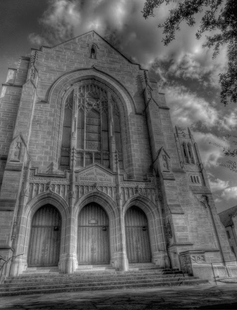 St. Paul's United Methodist Church Main Entrance - Houston, Texas - Black and White HDR
