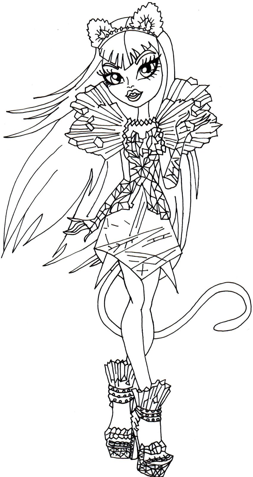 Free printable monster high coloring pages catty noir boo for Print monster high coloring pages