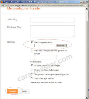 Cara memasukkan gambar ke header blog