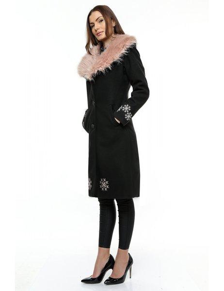 Palton Dama Negru din Stofa