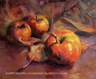 Big Apple - still life fruit painting in oil by Andy Dolphin