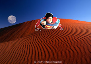 Wallpaper of Superman super sonic speed in Red Moon Desert Desktop wallpaper