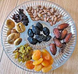 Tabla de calorías-frutos secos y frutas deshidratadas