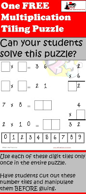 Free download - multiplication tiling puzzle from Raki's Rad Resources.