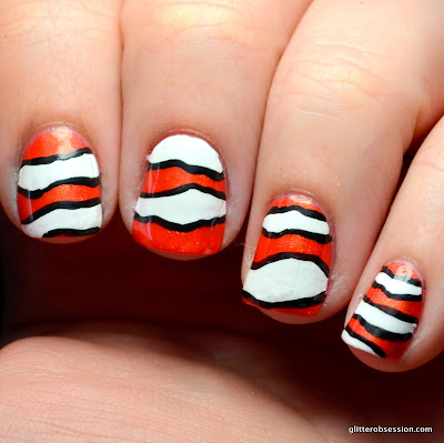 31dc2013, nail art, nemo nail art, orange nail art, animal nail art,
