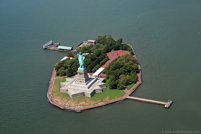 Aerial view of Liberty Island
