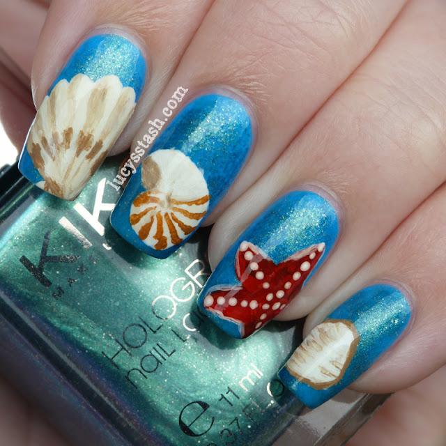 Sea Shells nail art manicure with KIKO polishes