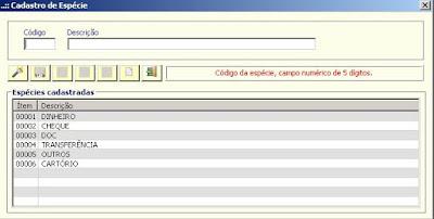 NeXT ERP 1414 Cadastro de Especie
