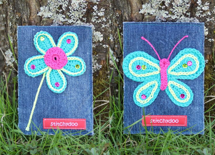 stitchydoo: Stoffkartentausch | Meine Frühlingsboten im April - Häkelapplikationen auf Jeans