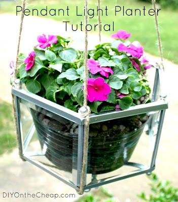 pendant light planter (outdoor ideas)