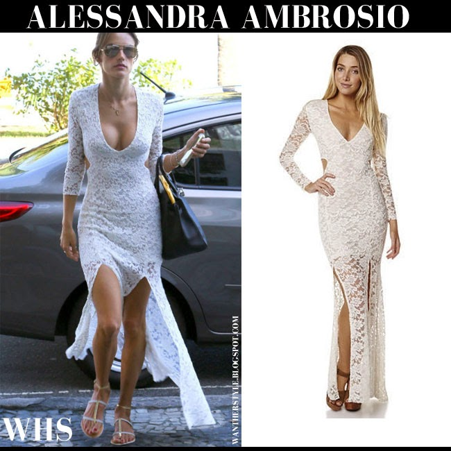 Alessandra Ambrosio in white lace maxi dress from Somedays what she wore may 24 summer spring boho street style