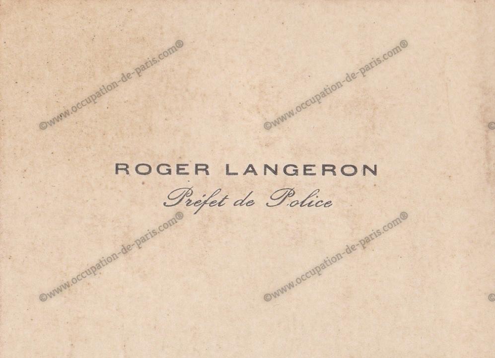 CARTE DE VISITE ROGER LANGERON