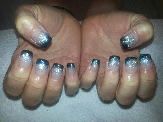 Black acrylics with silver/blue haze nails art design