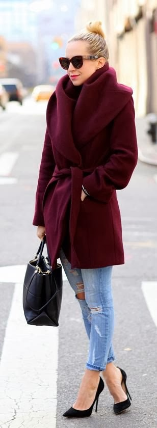 Adorable long jacket, ripped jeans, high heel and handbag for fall