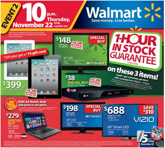 2012 Black Friday Walmart, Best Buy Deals: Tablets, Laptop, Computers