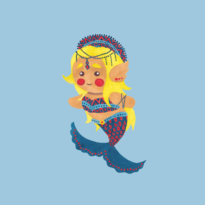 The Mermaid Princess Illustration Printed on Merchandise by Haidi Shabrina