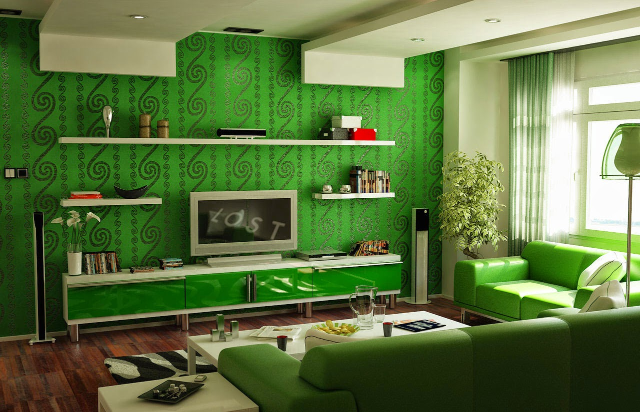 green color living room interior design ideas